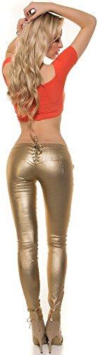 Damenhose - mit Nieten und Schnürung - Gr. S M L XL Hose Skinny Pants Röhre Damen (900606 Gr. L gold)