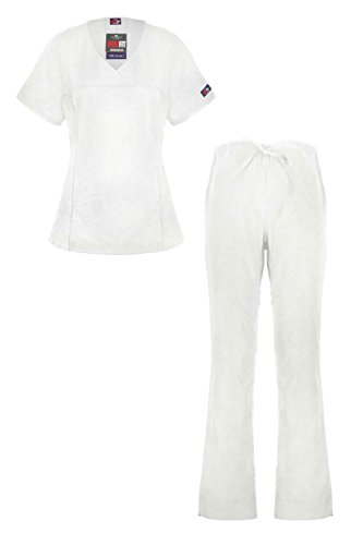 MediFit Women's Mock Wrap Medical Top & Pants Scrub Set(SET-MED,WHT-3XL) (Women Army Uniforms)