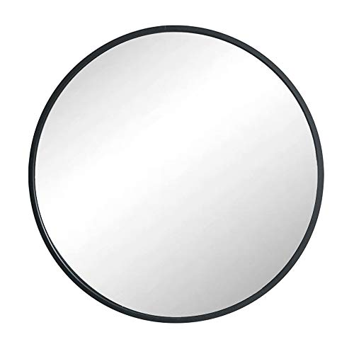 Huimei2Y Black Round Mirror, 19.7 Inch Circle Wall Mirror with Metal Frame for Vanity, Bathroom, Bedroom, Entryway & Living Room(Black, 50x50cm)