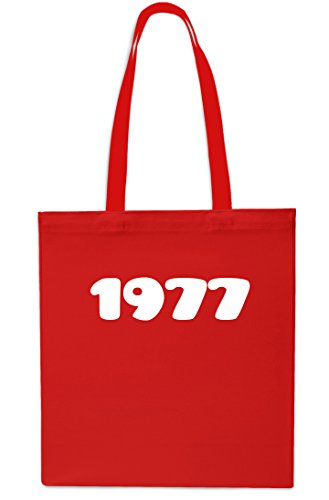42cm 10 Beach Bag litres Shopping x38cm RED Gym Anniversary RED Tote Birthday 1977 Year wYx6186v