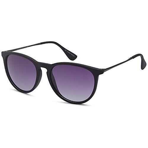 [GAMMA RAY Polarized UV400 Vintage Retro Round Thin Style Sunglasses - Gradient Purple Lens on Matte Black Frame] (Thin Frame Sunglasses)