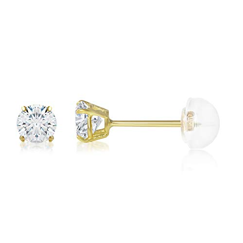 Ioka - 14K Yellow Gold Round Solitaire Cubic Zirconia CZ Stud Push Back Earrings - 0.25ct (4mm) ()