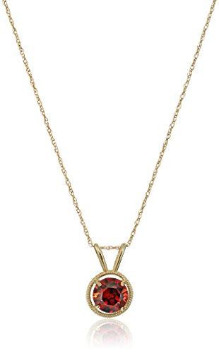 10K Gold Dainty Swarovski Elements Birthstone Pendant with Gold Filled Chain, ()