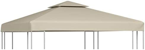 vidaXL Gazebo Canopy Top 10'x10' Beige Replacement Cover 2 Tier Outdoor Patio