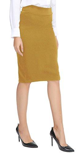 Urban CoCo Women's Elastic Waist Stretch Bodycon Midi Pencil Skirt (M, Turmeric)