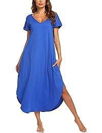 e76f4d84ffca Sleepwear Women's V Neck Long Nightgown Short Sleeve Loungewear Loose  Length Casual Nightshirt S-XXL