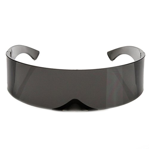 zeroUV - Futuristic Wrap Around Monoblock Shield Sunglasses - Doc Brown Glasses
