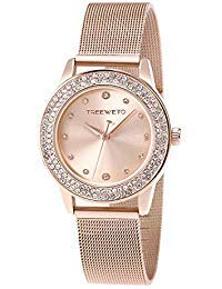 TREEWETO Women's Quartz Watch, Small Case Analog Quartz Stainless Steel Rose Gold Mesh Strap, Crystal Bezel Wrist Watches for - Watch Bezel Steel Stainless Wrist