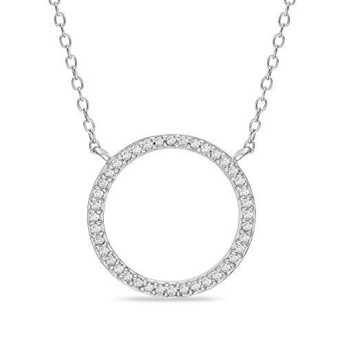 Devin Rose Rhodium Plated Sterling Silver 1/4 Cttw Diamond Open Circle Necklace for Women (White) ()