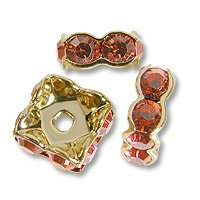 (Swarovski Rondelle Square 6mm Padparadscha Gold Plated (1-Pc))