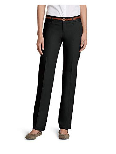 Eddie Bauer Women's StayShape Straight Twill Pants - Slightly Curvy, Black Petit ()