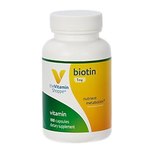 The Vitamin Shoppe Biotin 1MG, Nutrient Metabolism Support for Healthy Vibrant Hair, Healthy Skin Strong Nails (100 Capsules)