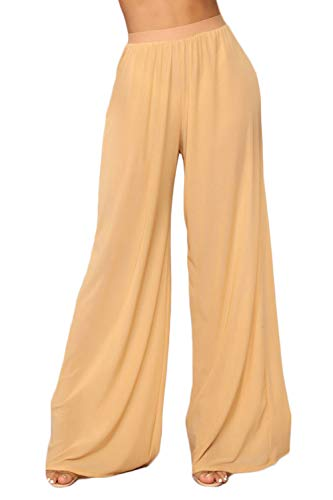 Women See Through Sheer Mesh Pants Beach Swimsuit Bikini Bottom Cover up Party Club Elastic High Waist Wide Leg Pants Apricot