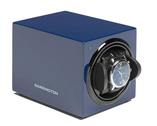 Powered Single Watch Winder - Barrington Watch Winder Box for Single Watch - Compact Watch Winders for Automatic Watches, Super Quiet Motor, Battery Powered and AC Adapter - Can Be Used with Watches for Both Men & Women (Blue)