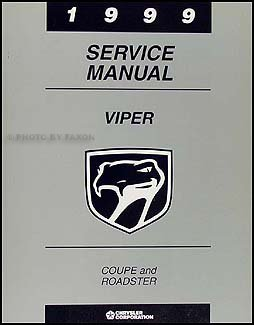 1999 Dodge Viper Coupe and Roadster Repair Shop Manual - Dodge Roadster