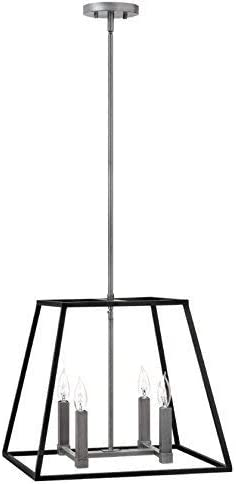 Hinkley 3334DZ Restoration Four Light Stem Hung Pendant from Fulton collection in Bronze Darkfinish,