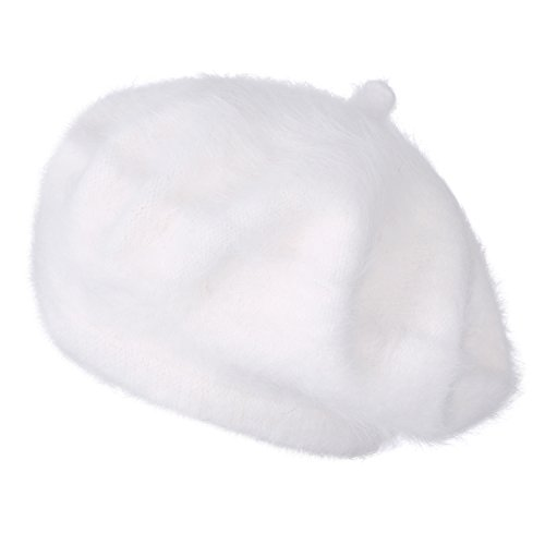 ililily Solid Color Angora French Beret Furry Artist Flat Winter Hat, -