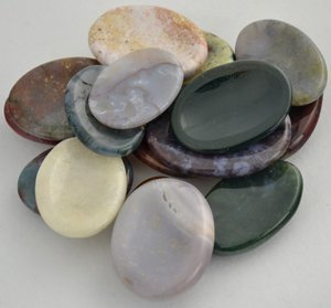 (One Jasper Worry Stone - Various Color &)