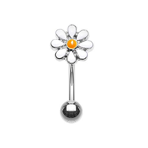Inspiration Dezigns 16G Dainty Daisy Enamel Curved Barbell Eyebrow Ring (Sold Individually) (White)