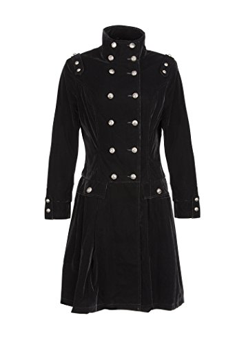 Velvet Winter Coat - Womens Black Velvet Victorian Winter Coat Jacket with Buttons – Size US 8