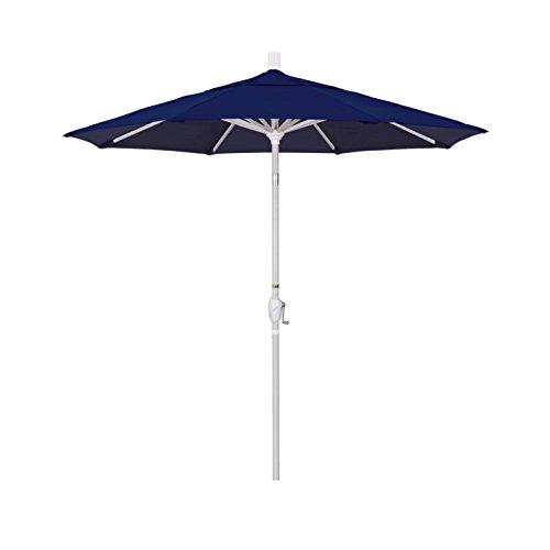 Cheap California Umbrella 7.5′ Round Aluminum Market Umbrella, Crank Lift, Push Button Tilt, White Pole, Sunbrella Navy