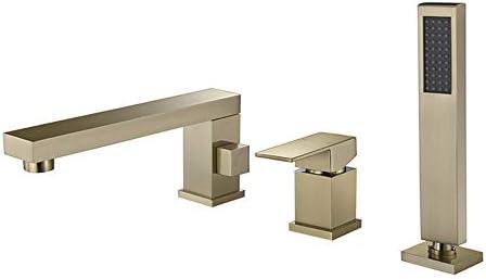 真鍮浴槽タップセットホット冷水シャワーミキサータップデッキマウントバスルームシングルハンドルバスタブ蛇口ハンドヘルドシャワー付き,Brushed gold