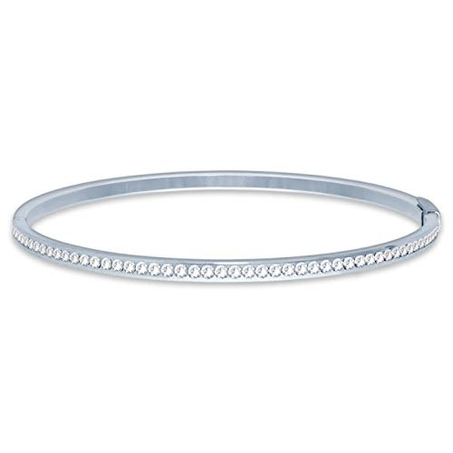 Ed Heart Pave Bangle Bracelet with White Clear Round Crystals from Swarovski Silver Toned Rhodium Plated