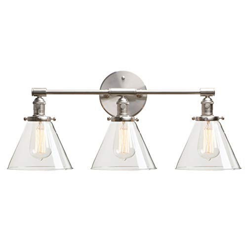Permo Vintage Industrial Antique Three-Light Wall Sconces with Funnel Flared Clear Glass Shade (Brushed) (Clear Three Light)