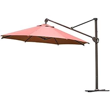 Abba Patio Offset Patio Umbrella 11 Feet Hanging Cantilever Umbrella With  Cross Base And Umbrella Cover, Dark Red