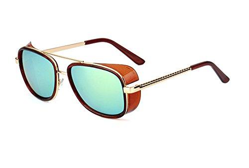Non lunettes Retro de Vintage soleil Vin et UV400 de polarisant pour Hellomiko Carré lunettes hommes protection femmes Rouge Or qgE0YwA