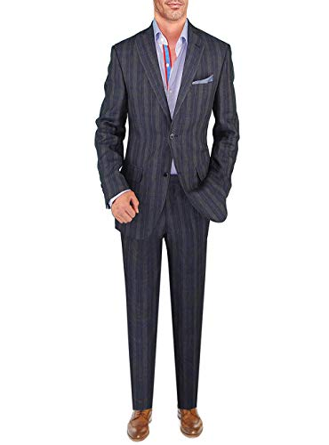 DTI BB Signature Italian Men's Suit Linen Two Button Jacket 2 Piece Modern Fit (40 Regular US / 50R EU/W 34
