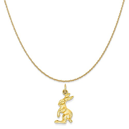14k Gold Jack - Mireval 14k Yellow Gold Jack Rabbit Charm on a 14K Yellow Gold Rope Chain Necklace, 18