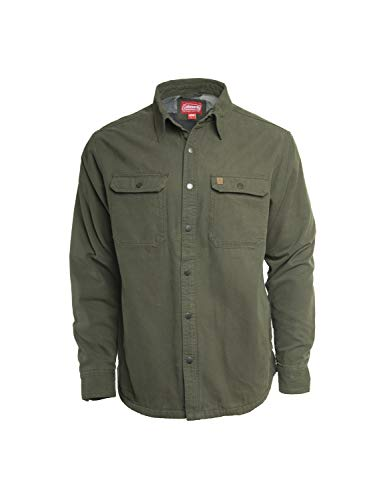 Coleman Fleece Lined Washed Canvas Shirt Jackets for Men (Large, Olive)