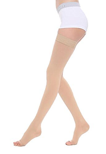25b6018af7 ICE Women's Medical Thigh High Open Toe Compression Stockings With Silicone  Band Graduated Firm