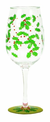 CR Gibson Lolita Acrylic Wine Glasses, Holly Berry, Set of 2