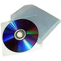 200 fundas de plástico transparente para CD/DVD con solapa de cierre