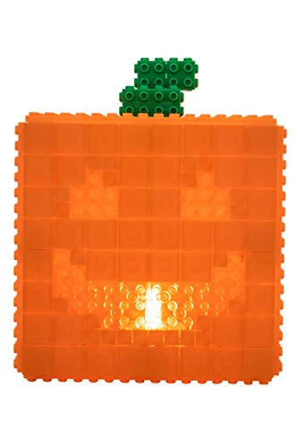 Strictly Briks Light Up Jack-O-Lantern - Building Bricks & Blocks Set - 100% Compatible with All Major Brands - 144 Piece Halloween Brick Construction Toy - LED Tea Light Included (Up Light O Jack Lanterns)