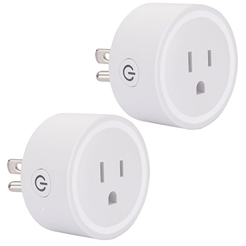 WiFi Smart Plug Mini Smart Outlet Socket Wireless Switch Works with Amazon Alexa Echo/Google Home/IFTTT Timing WiFi Enabled Remote Control No Hub Required by UNIOJO (White 2 Packs)