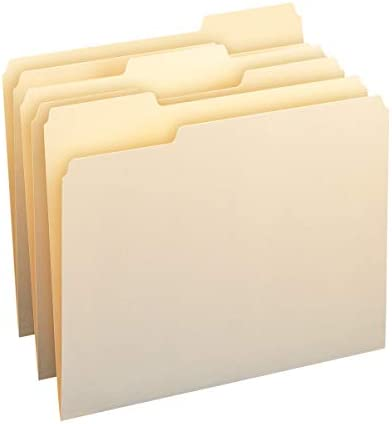 Amazon Basics 1/3-Cut Tab, Assorted Positions File Folders, Letter Size, Manila – Pack of 100