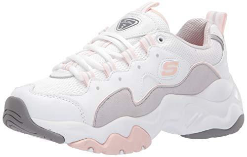 Skechers Women's D'Lites 3 Sneaker, White/Grey/Pink, 7.5 M ()