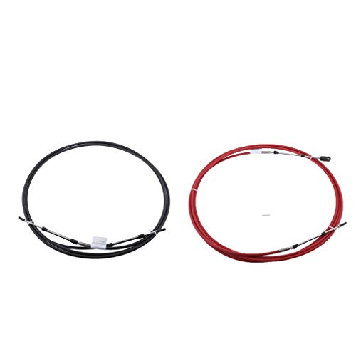 (gazechimp 2pcs Throttle Cable Wires (12FT), Throttle Shift Control Cables for Yamaha Outboard, Anti-UV, Black & Red)