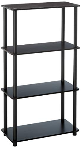 (Furinno 99557DWN Turn-N-Tube 4-Tier Multipurpose Shelf Display Rack, Single, Dark Walnut)