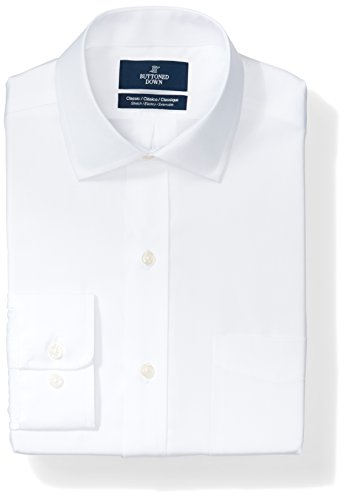 Buttoned Down Men's Classic Fit Stretch Poplin Non-Iron Dress Shirt, White, 17
