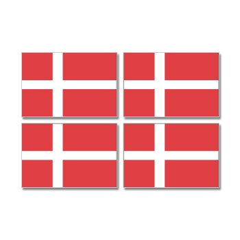 Denmark Danish Country Flag - Sheet of 4 - Window Bumper (Denmark Country Flag)