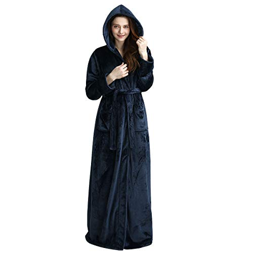 (Womens Bathrobe Hooded Soft Warm Spa Kimono Thicker Plus Size Full Length Sleepwear Luxurious Plush Fleece Ladies Robes with Pockets (Navy Blue,)