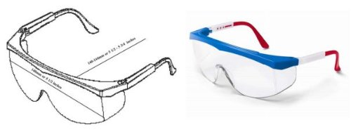 Stratos Safety Glasses, SS130, Red/White/Blue Frame, Clear Lens -