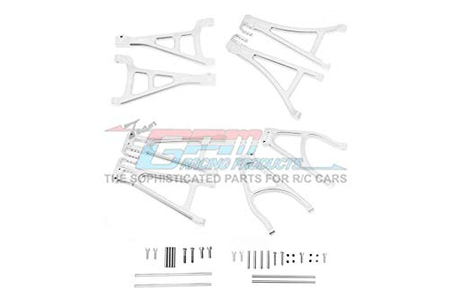 GPM Traxxas E-Revo 2.0 VXL Brushless (86086-4) Upgrade Parts Aluminum Full Suspension Arm Set (Front+Rear & Upper+Lower) - 8Pc Set Silver