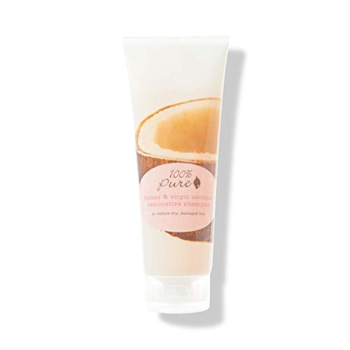 100% PURE Honey & Virgin Coconut Restorative Shampoo (8 Fl Oz), Sulfate Free Shampoo, Restores Damaged Hair, Replenishes Moisture, Healthy Hair - Pure Extra Virgin