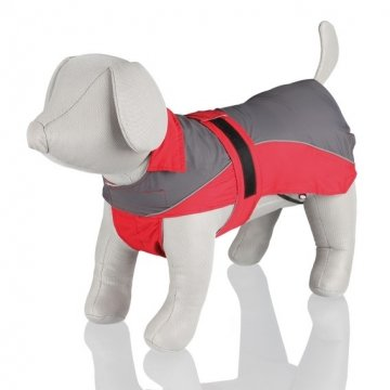(Trixie Lorient Dog Rain Coat With Bib And Roll Up Hood, Grey/Red (Stomach Circ.:65-90 Cm / Length: 70 Cm))