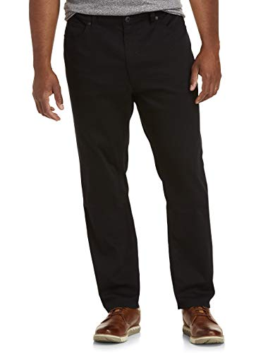 True Nation by DXL Big and Tall Straight-Fit Stretch Twill Pants, Black